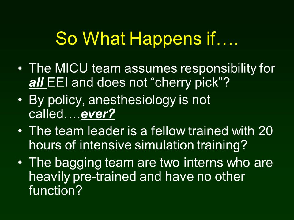 So What Happens if…. The MICU team assumes responsibility for all EEI and does not cherry pick .