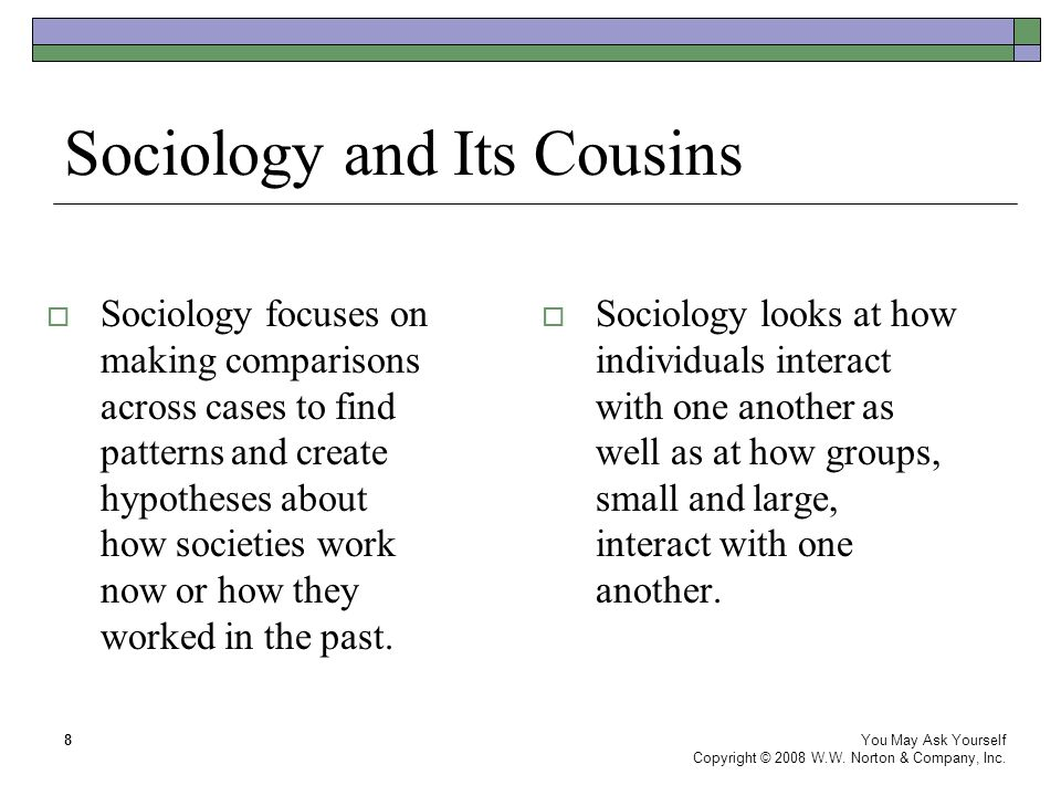 Sociology and Its Cousins  Sociology focuses on making comparisons across cases to find patterns and create hypotheses about how societies work now o
