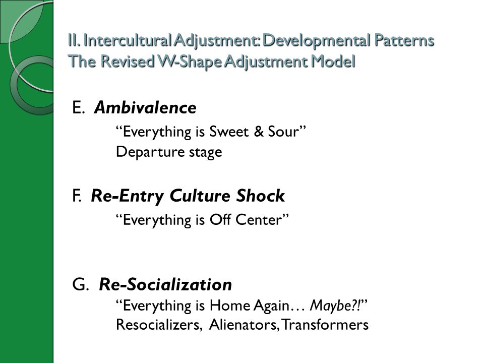 "II. Intercultural Adjustment: Developmental Patterns The Revised W-Shape Adjustment Model E. Ambivalence ""Everything is Sweet & Sour"" Departure stage"