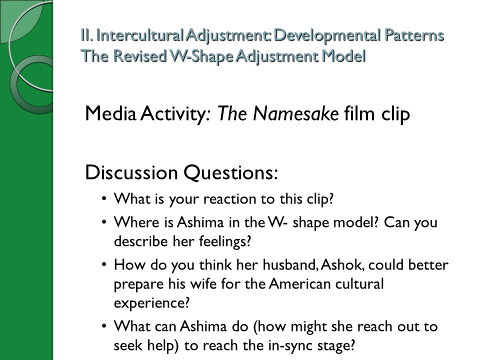 II. Intercultural Adjustment: Developmental Patterns The Revised W-Shape Adjustment Model Media Activity: The Namesake film clip Discussion Questions: