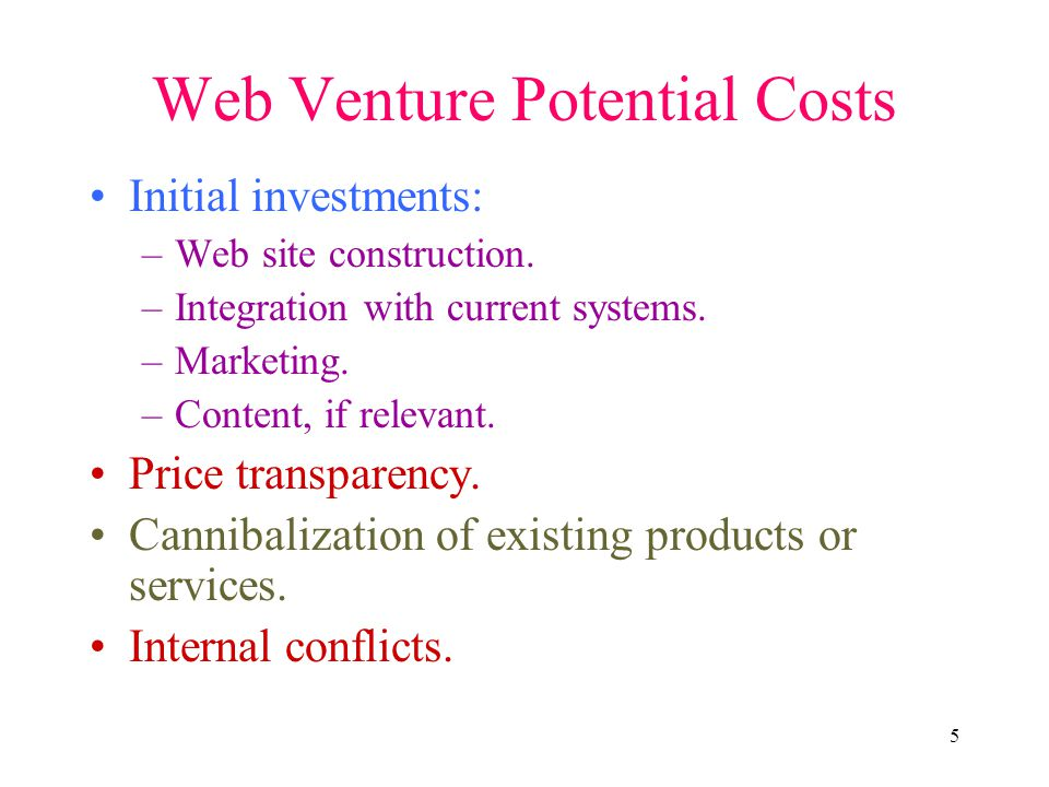 5 Web Venture Potential Costs Initial investments: –Web site construction. –Integration with current systems. –Marketing. –Content, if relevant. Price