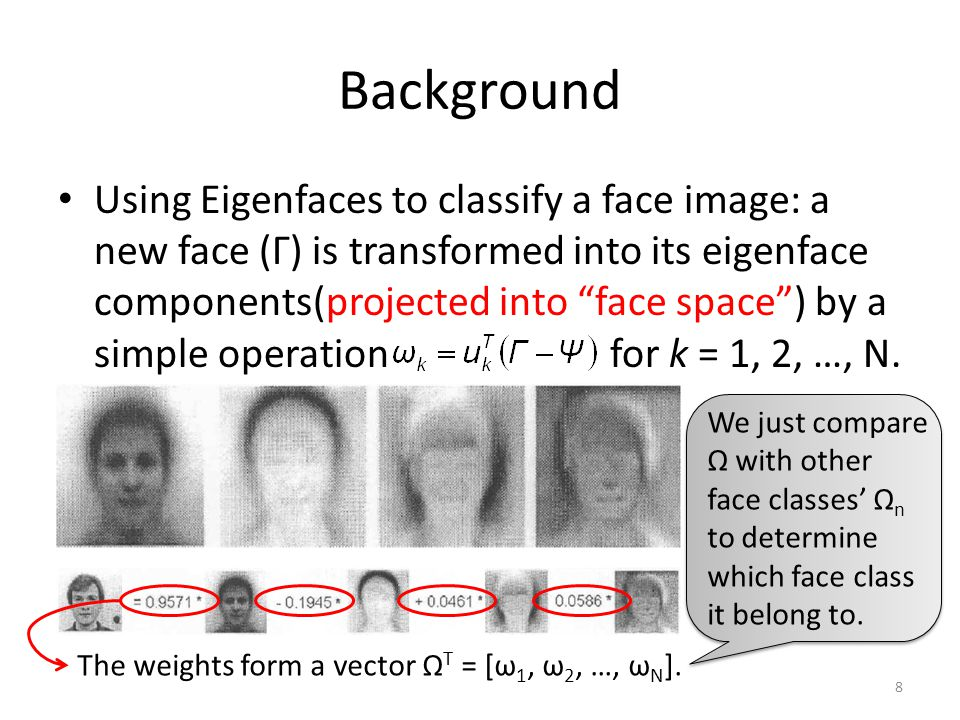 Background With the SVD of the training set, we could get the eigenfuntions(eigenfaces), and the corresponding eigenvalues, in [2] [3].