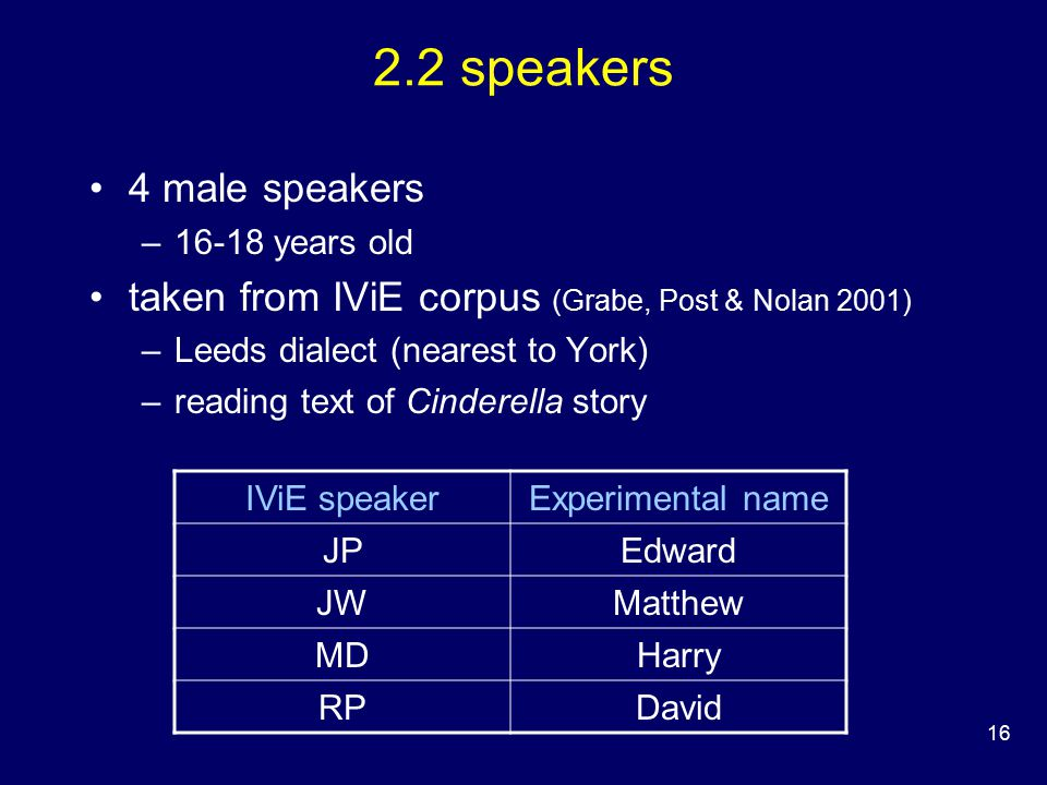 16 2.2 speakers 4 male speakers –16-18 years old taken from IViE corpus (Grabe, Post & Nolan 2001) –Leeds dialect (nearest to York) –reading text of Cinderella story IViE speakerExperimental name JPEdward JWMatthew MDHarry RPDavid