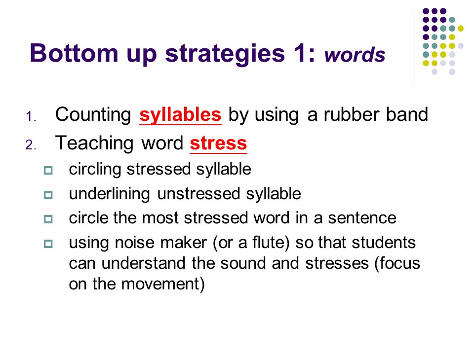 Bottom up strategies 1: words 1. Counting syllables by using a rubber band 2. Teaching word stress  circling stressed syllable  underlining unstress