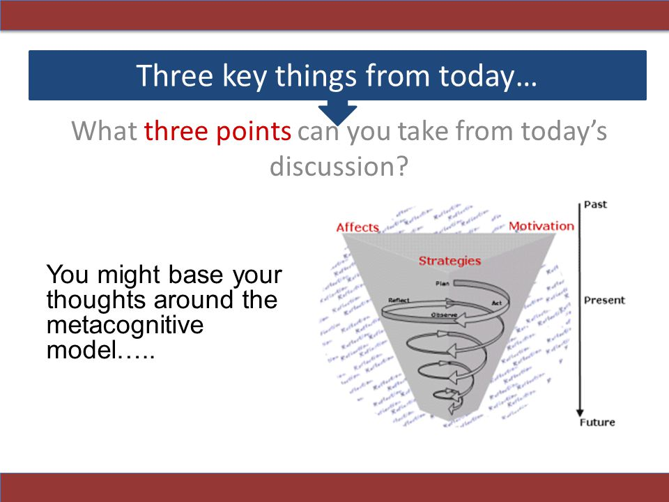 Three key things from today… What three points can you take from today's discussion.