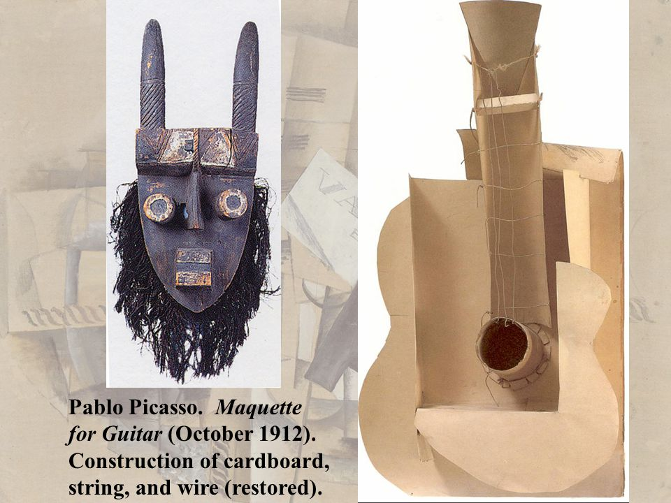 Pablo Picasso. Maquette for Guitar (October 1912). Construction of cardboard, string, and wire (restored).