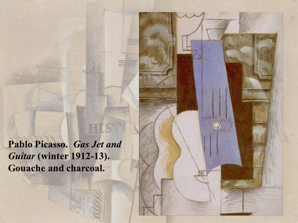Pablo Picasso. Gas Jet and Guitar (winter 1912-13). Gouache and charcoal.