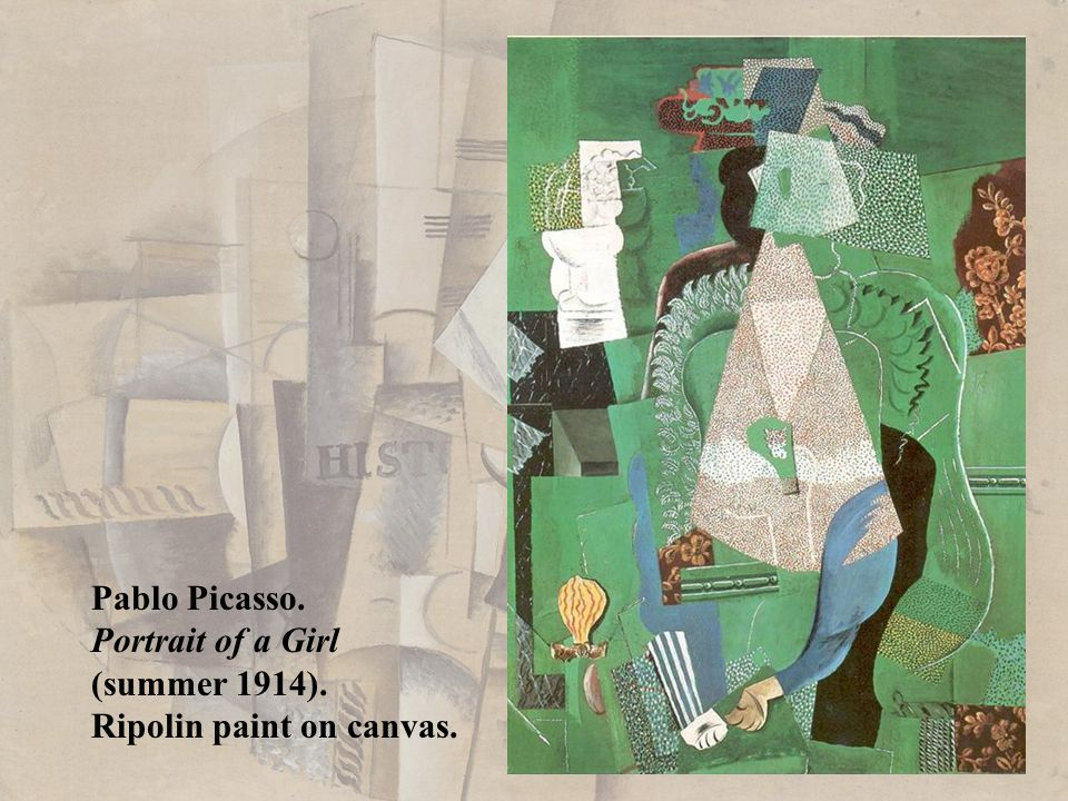 Pablo Picasso. Portrait of a Girl (summer 1914). Ripolin paint on canvas.