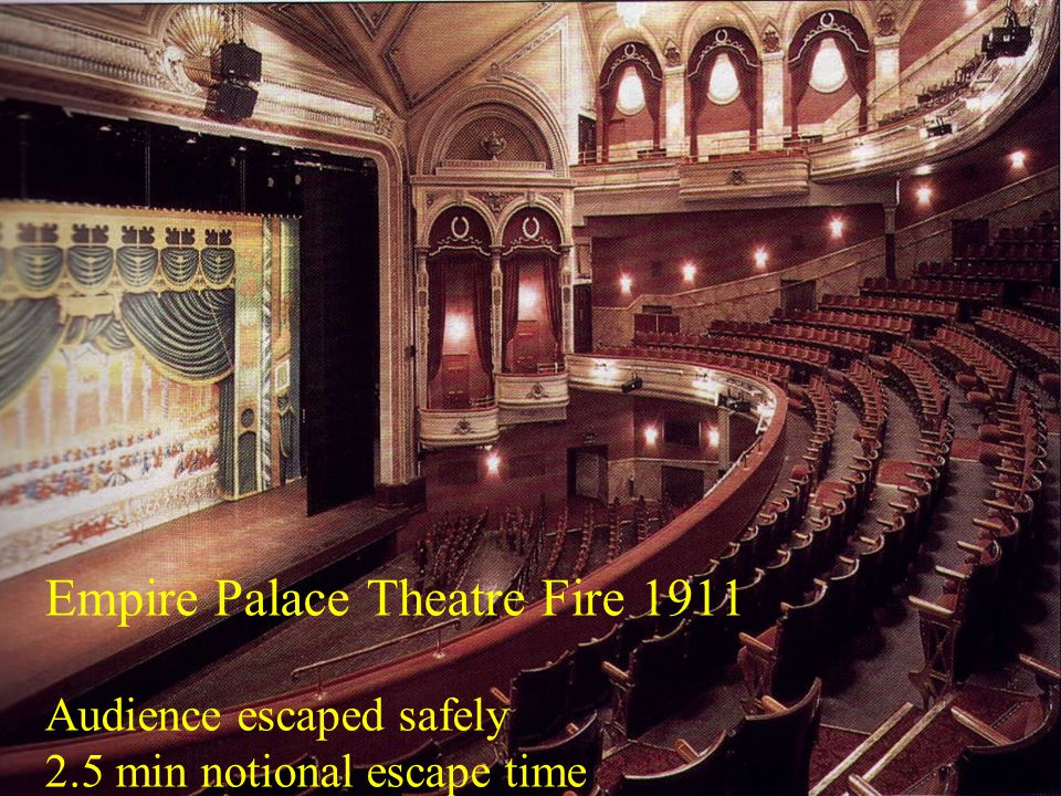 Post War Building Studies Empire Palace Theatre Fire 1911 Audience escaped safely 2.5 min notional escape time