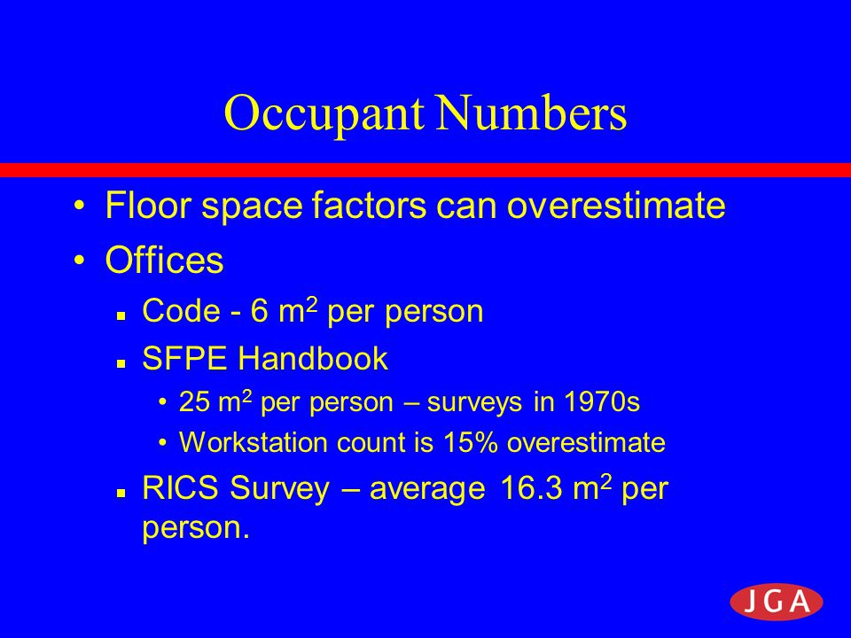 Occupant Numbers Shopping Centre Occupancy Study Shops 4 m 2 /person, Malls 0.7 m 2 / person