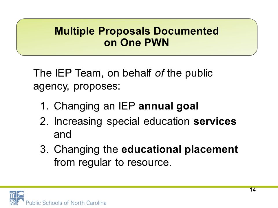 14 The IEP Team, on behalf of the public agency, proposes: 1.Changing an IEP annual goal 2.Increasing special education services and 3.Changing the ed