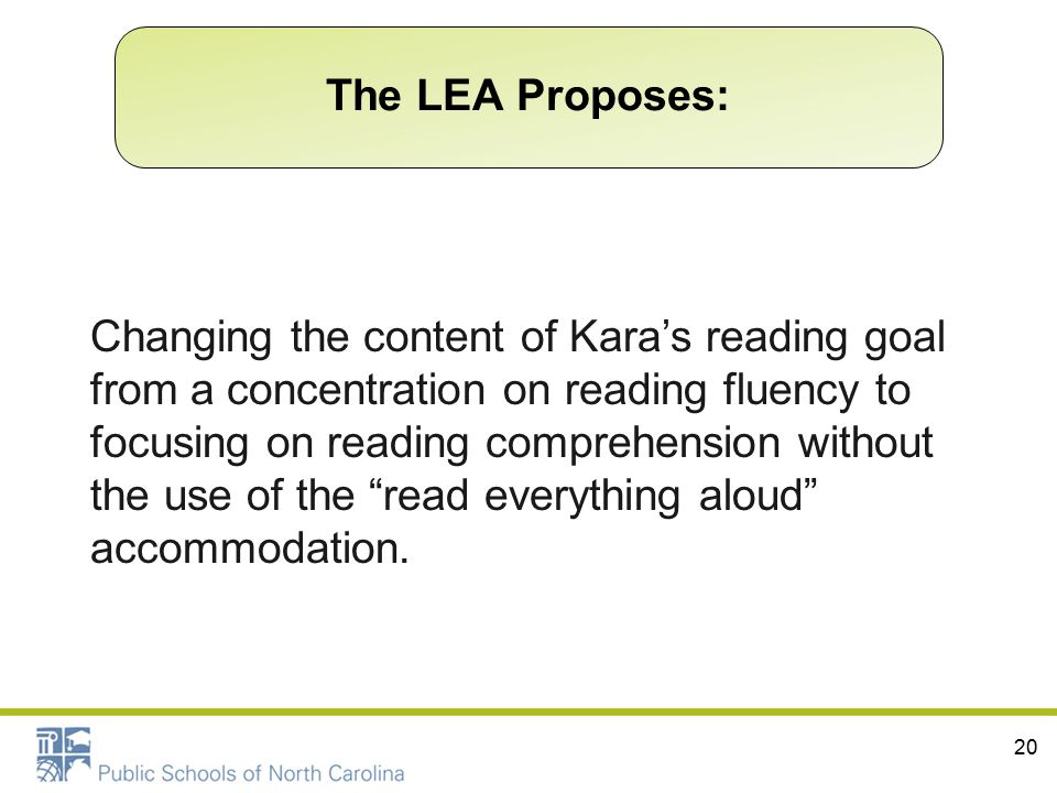 "20 Changing the content of Kara's reading goal from a concentration on reading fluency to focusing on reading comprehension without the use of the ""re"