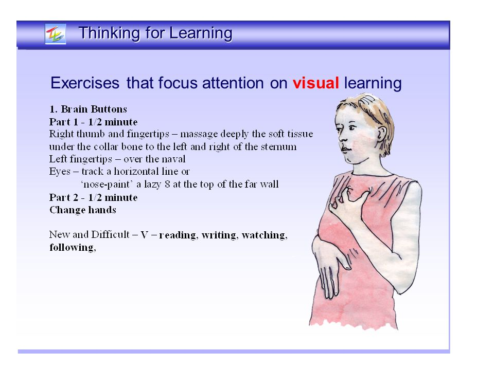 Exercises that focus attention on visual learning Thinking Together Thinking for Learning