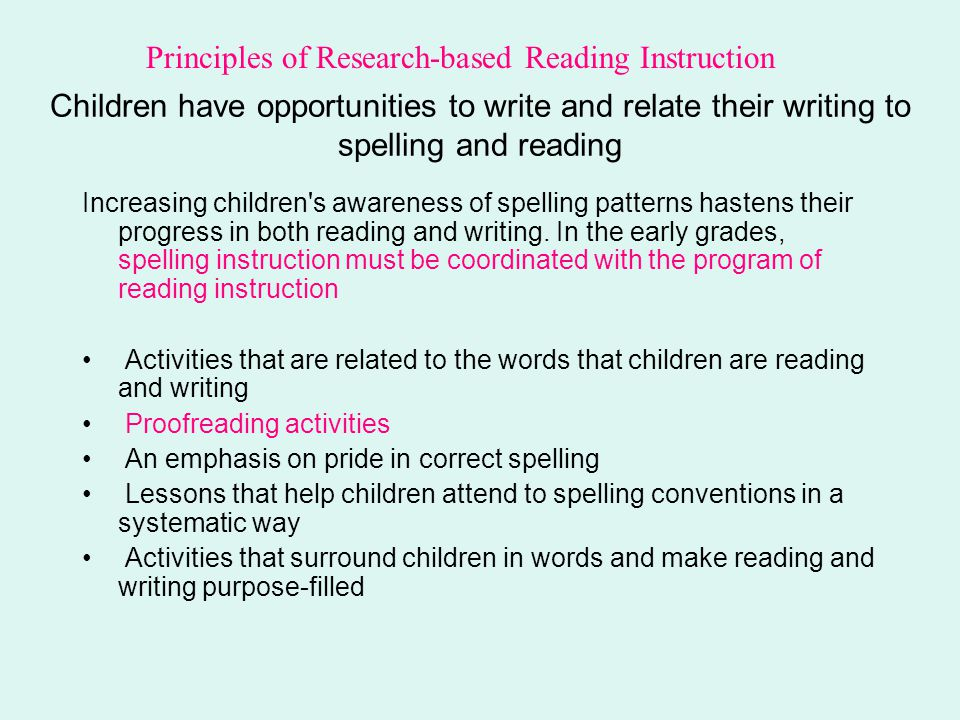 Children have opportunities to write and relate their writing to spelling and reading Increasing children's awareness of spelling patterns hastens the
