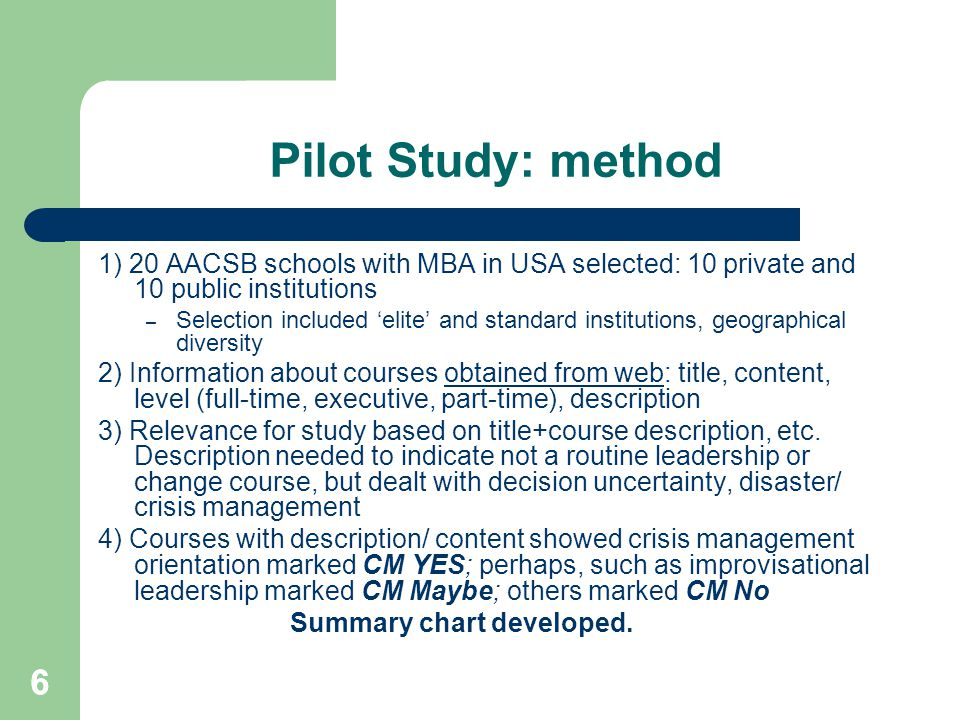 66 Pilot Study: method 1) 20 AACSB schools with MBA in USA selected: 10 private and 10 public institutions – Selection included 'elite' and standard i