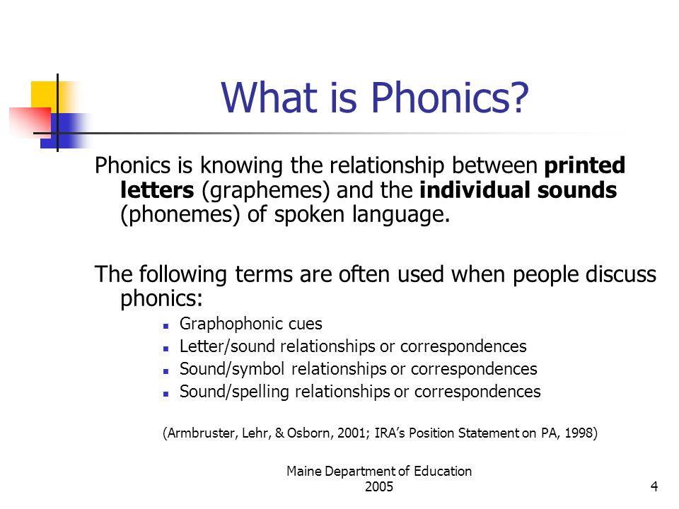 Maine Department of Education 20055 The Phonemic Awareness/Phonics Connection (Armbruster, Lehr, & Osborn, 2001) Phonemic AwarenessPhonics Given the spoken word dog , the student can tell you that the beginning sound is /d/.