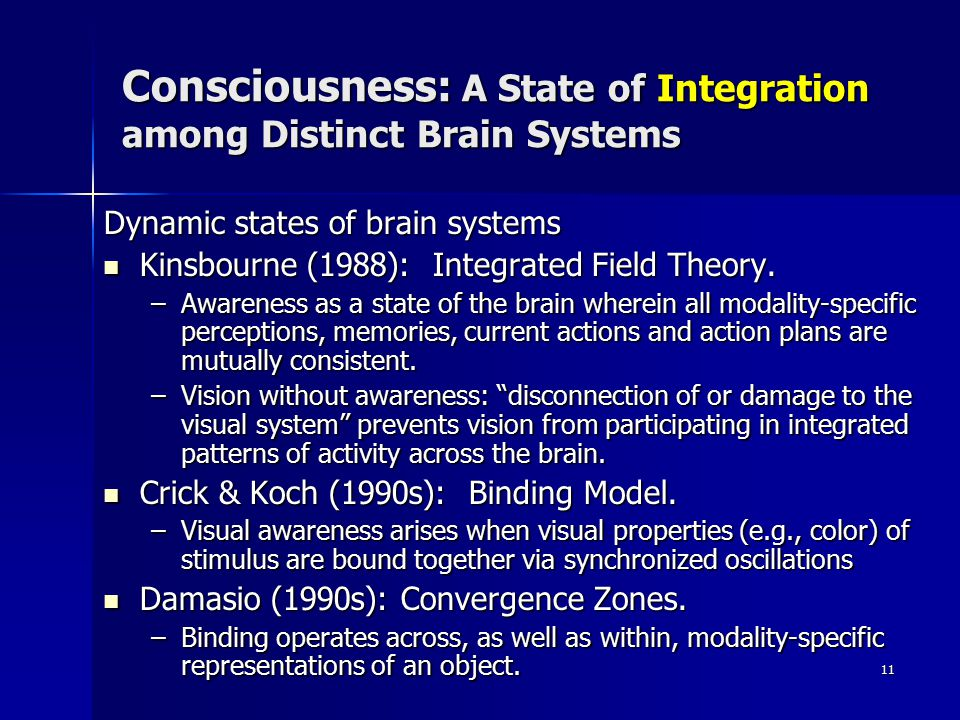 11 Consciousness: A State of Integration among Distinct Brain Systems Dynamic states of brain systems Kinsbourne (1988): Integrated Field Theory.