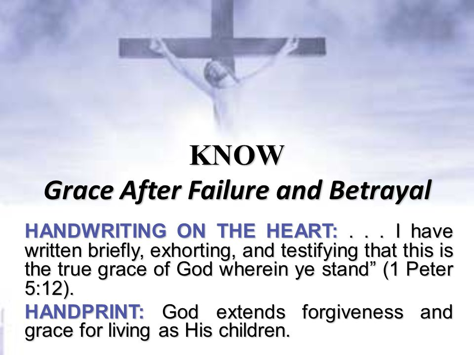 KNOW Grace After Failure and Betrayal HANDWRITING ON THE HEART:...