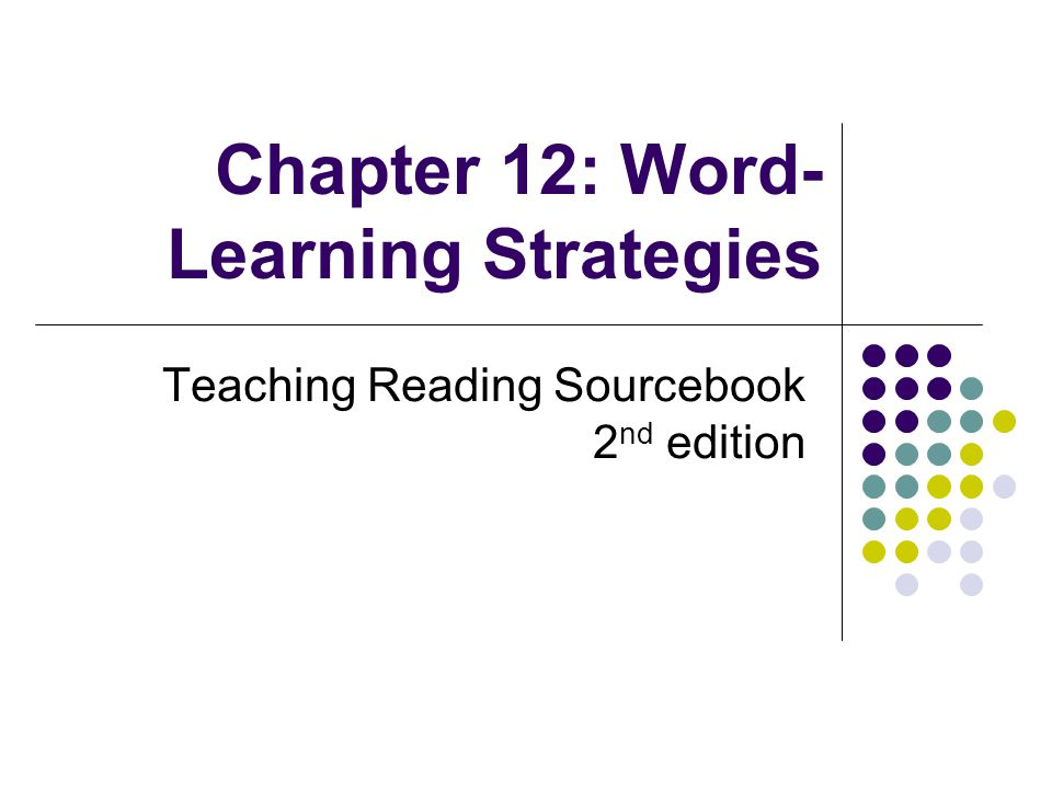 Chapter 12: Word- Learning Strategies Teaching Reading Sourcebook 2 nd edition