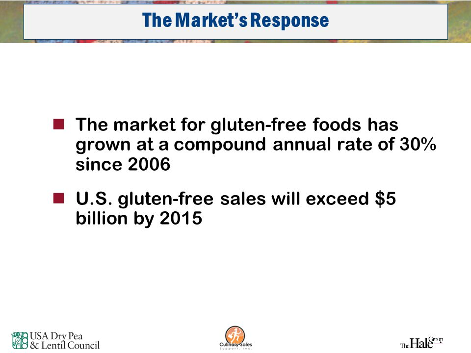 26 The market for gluten-free foods has grown at a compound annual rate of 30% since 2006 U.S. gluten-free sales will exceed $5 billion by 2015 The ma