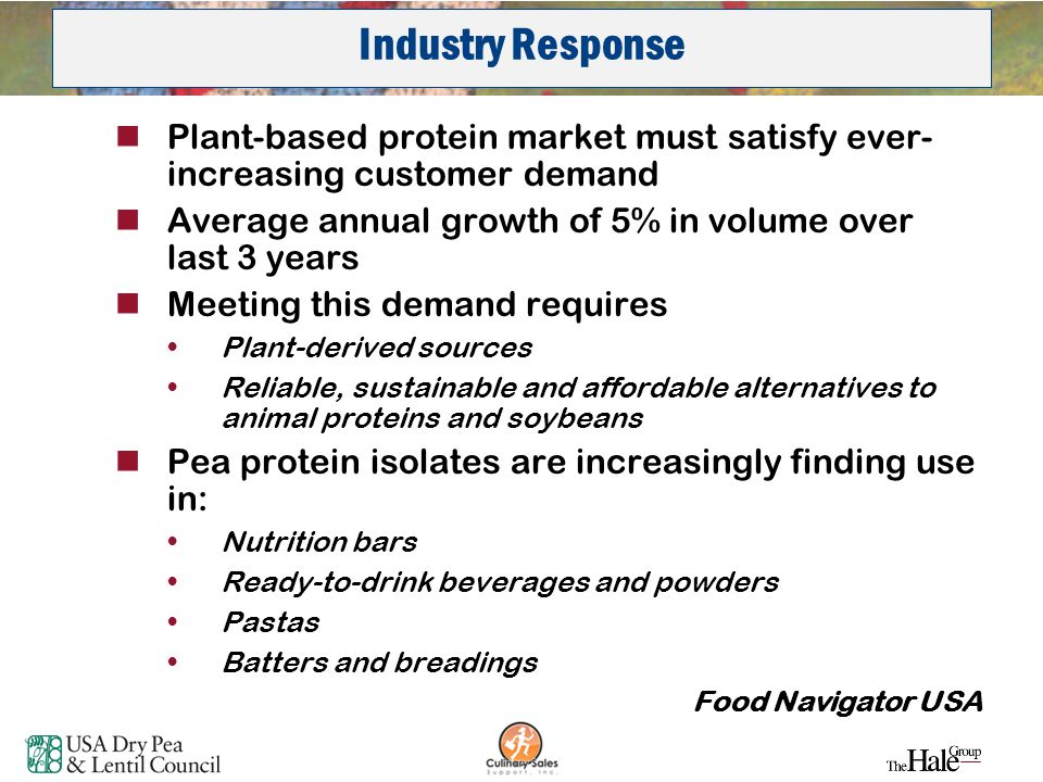 36 Plant-based protein market must satisfy ever- increasing customer demand Average annual growth of 5% in volume over last 3 years Meeting this deman