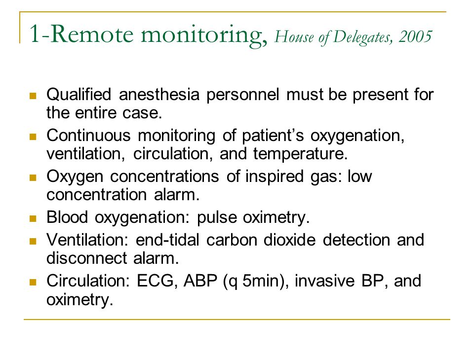 1-Remote monitoring, House of Delegates, 2005 Qualified anesthesia personnel must be present for the entire case.