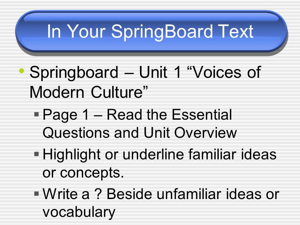 In Your SpringBoard Text Springboard – Unit 1 Voices of Modern Culture  Page 1 – Read the Essential Questions and Unit Overview  Highlight or underline familiar ideas or concepts.