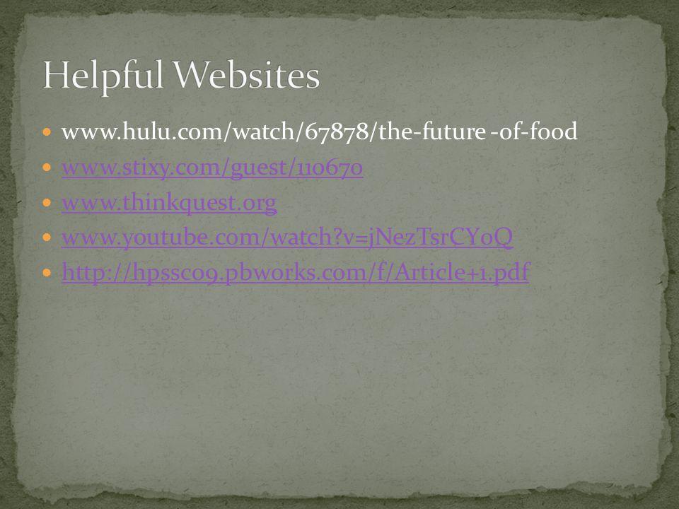 www.hulu.com/watch/67878/the-future -of-food www.stixy.com/guest/110670 www.thinkquest.org www.youtube.com/watch v=jNezTsrCY0Q http://hpssc09.pbworks.com/f/Article+1.pdf