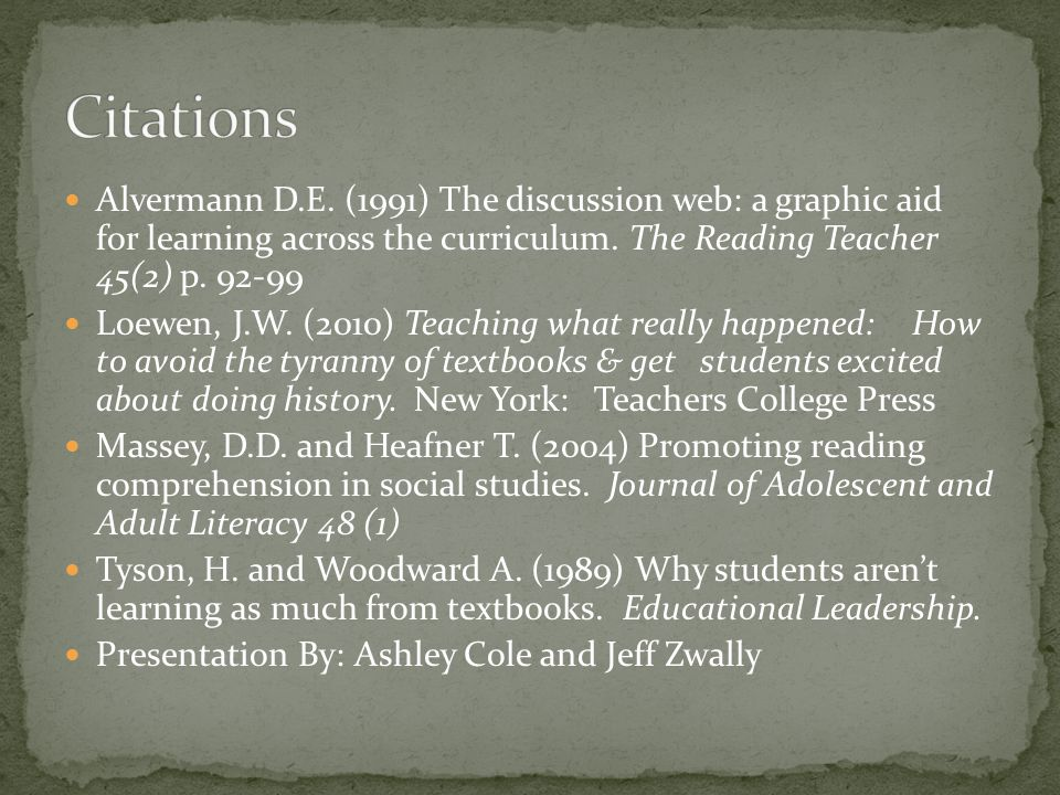 Alvermann D.E. (1991) The discussion web: a graphic aid for learning across the curriculum.