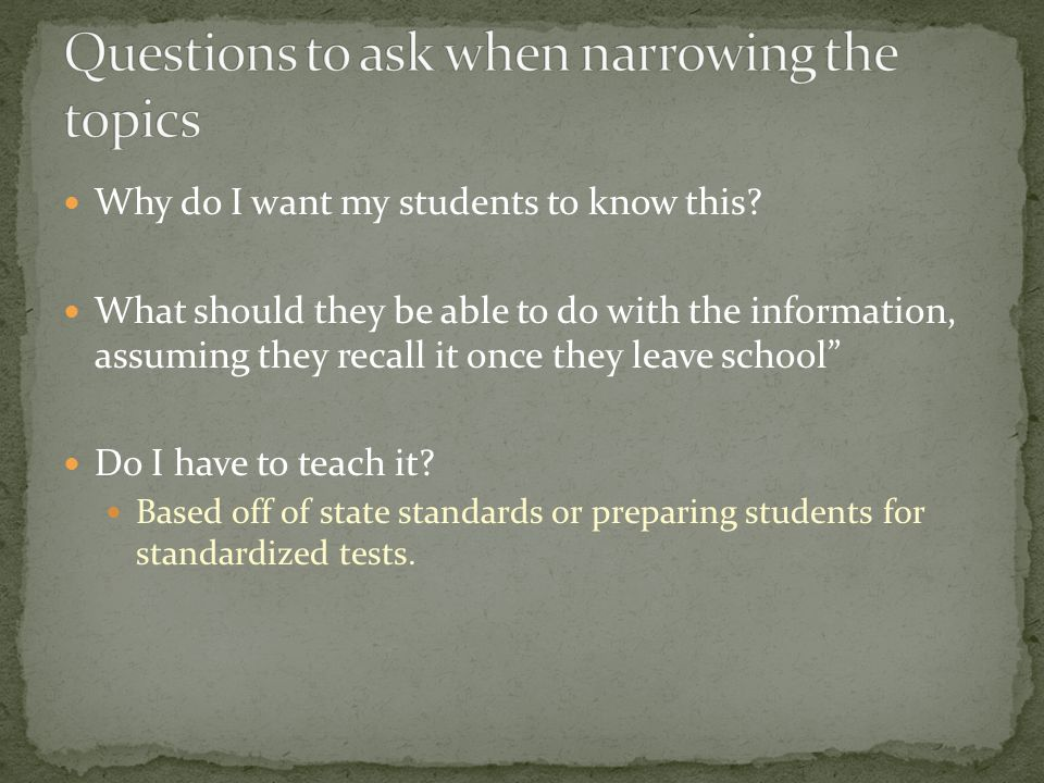 Why do I want my students to know this.