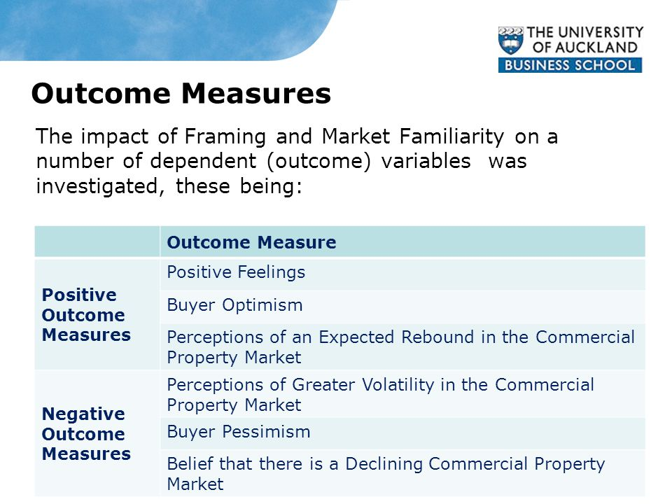 Outcome Measures The impact of Framing and Market Familiarity on a number of dependent (outcome) variables was investigated, these being: Outcome Measure Positive Outcome Measures Positive Feelings Buyer Optimism Perceptions of an Expected Rebound in the Commercial Property Market Negative Outcome Measures Perceptions of Greater Volatility in the Commercial Property Market Buyer Pessimism Belief that there is a Declining Commercial Property Market