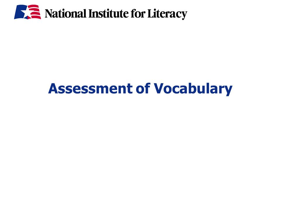 Assessment of Vocabulary