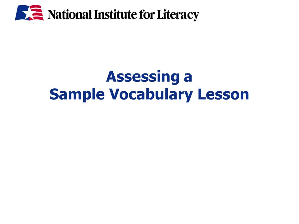 Assessing a Sample Vocabulary Lesson