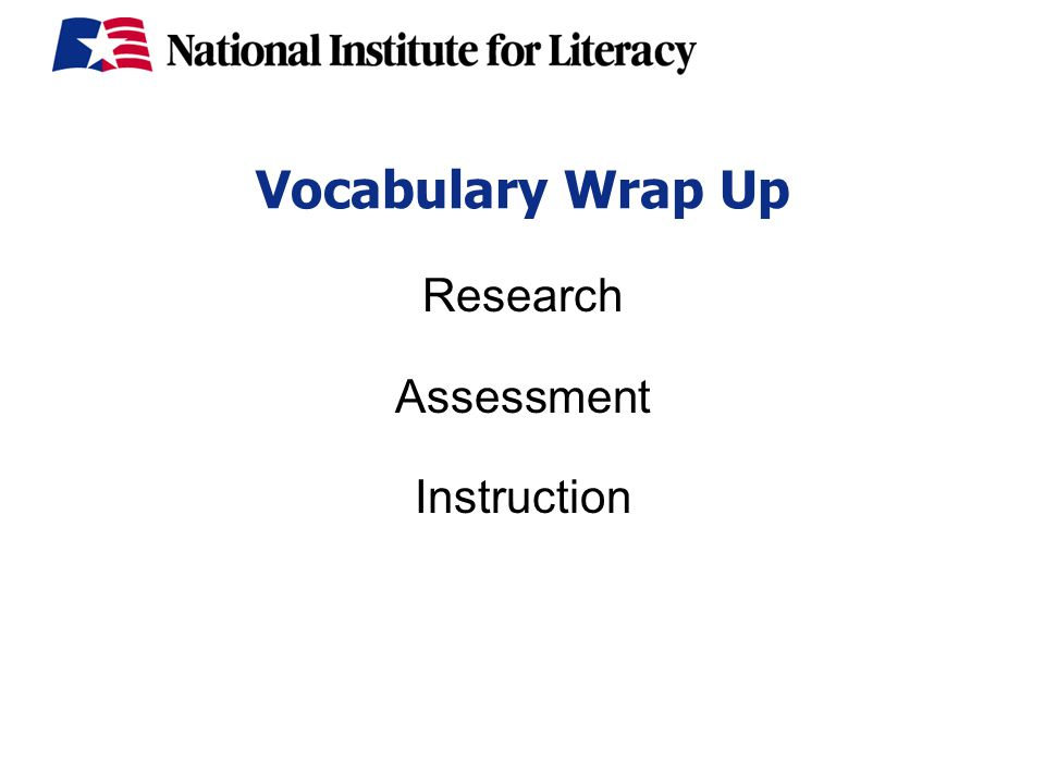 Vocabulary Wrap Up Research Assessment Instruction