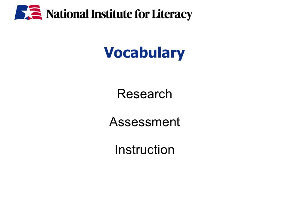 Vocabulary Research Assessment Instruction