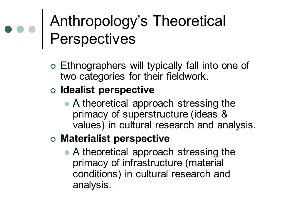 Anthropology's Theoretical Perspectives Ethnographers will typically fall into one of two categories for their fieldwork. Idealist perspective A theor