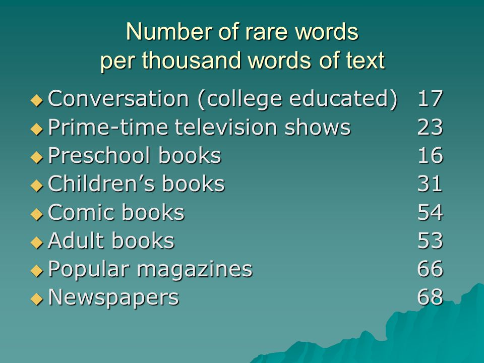 Number of rare words per thousand words of text  Conversation (college educated)17  Prime-time television shows23  Preschool books16  Children's books31  Comic books54  Adult books53  Popular magazines66  Newspapers68