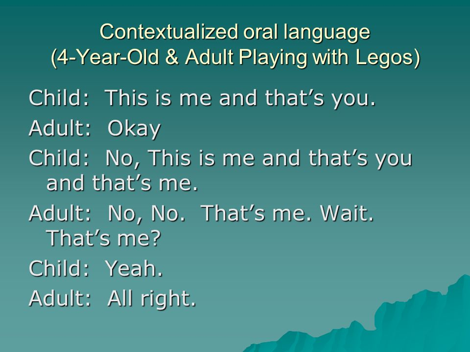Contextualized oral language (4-Year-Old & Adult Playing with Legos) Child: This is me and that's you. Adult: Okay Child: No, This is me and that's yo