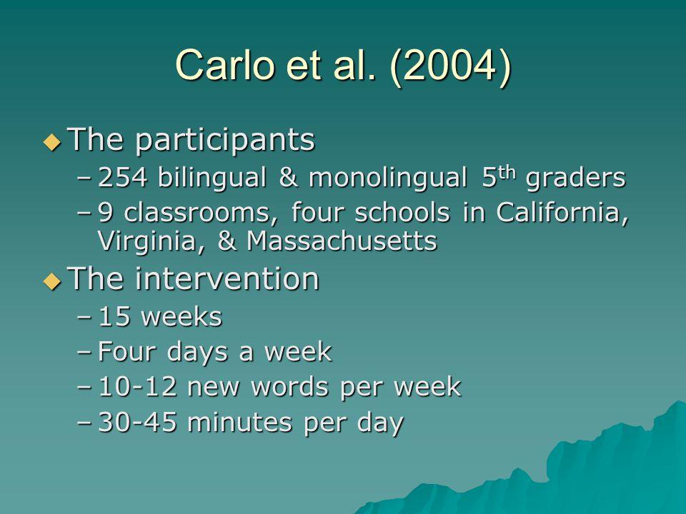 Carlo et al. (2004)  The participants –254 bilingual & monolingual 5 th graders –9 classrooms, four schools in California, Virginia, & Massachusetts