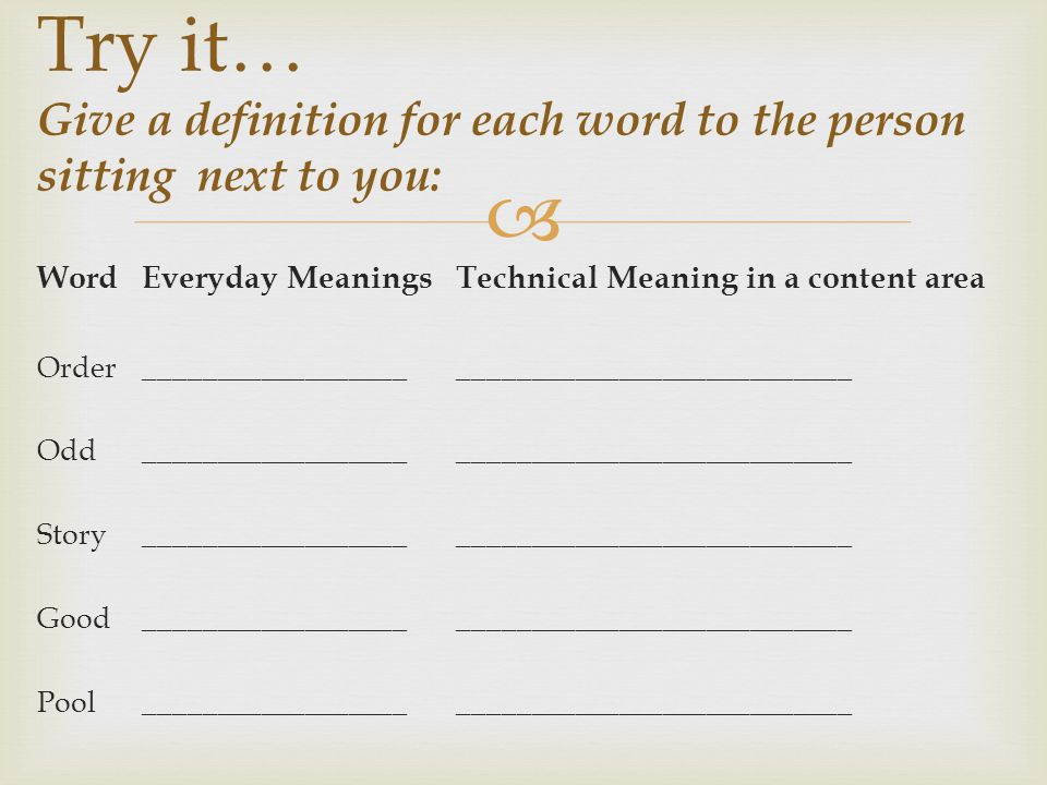  WordEveryday MeaningsTechnical Meaning in a content area Order _____________________________________________ Odd_____________________________________________ Story _____________________________________________ Good_____________________________________________ Pool_____________________________________________ Try it… Give a definition for each word to the person sitting next to you: