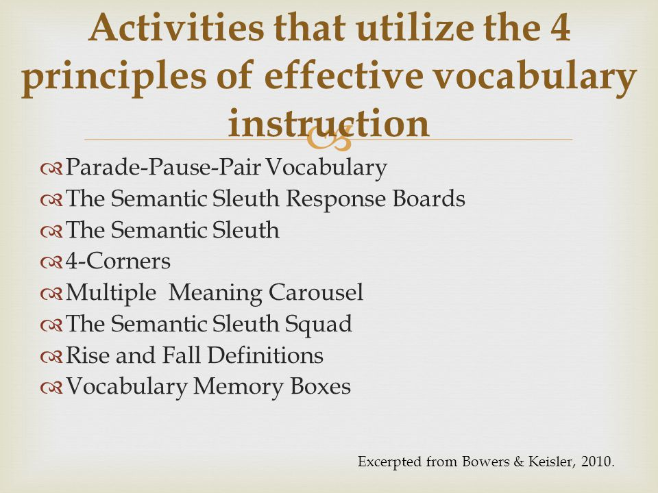   Parade-Pause-Pair Vocabulary  The Semantic Sleuth Response Boards  The Semantic Sleuth  4-Corners  Multiple Meaning Carousel  The Semantic Sl