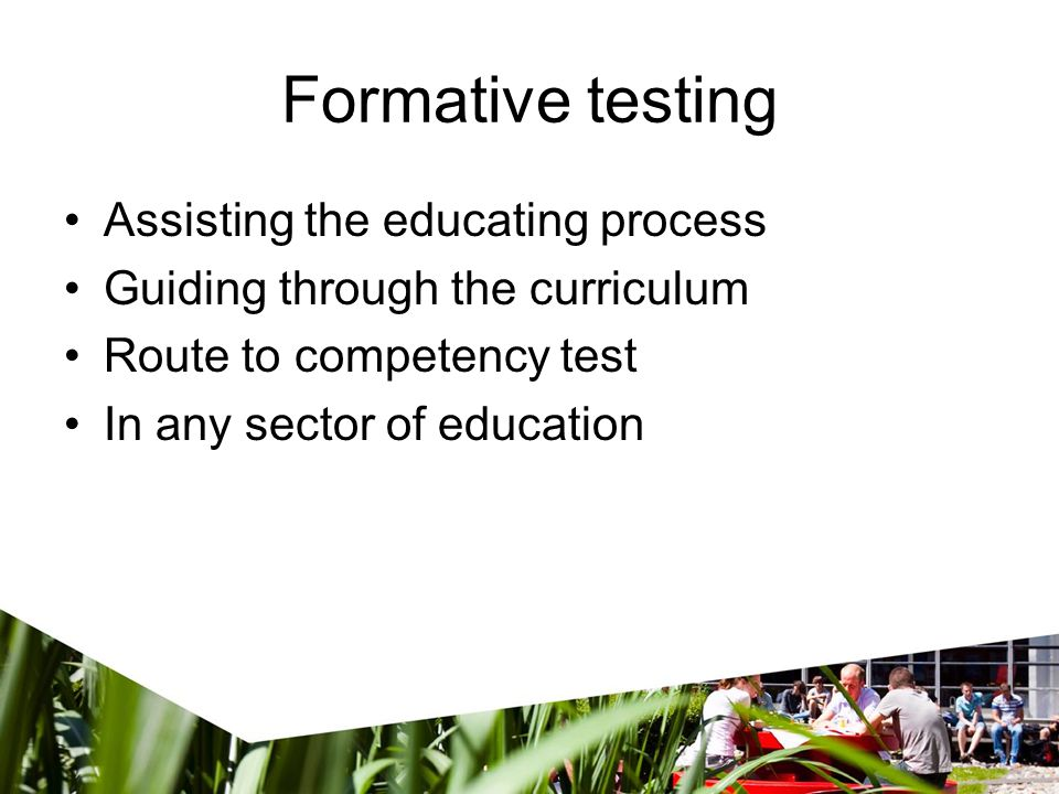 Formative testing Assisting the educating process Guiding through the curriculum Route to competency test In any sector of education