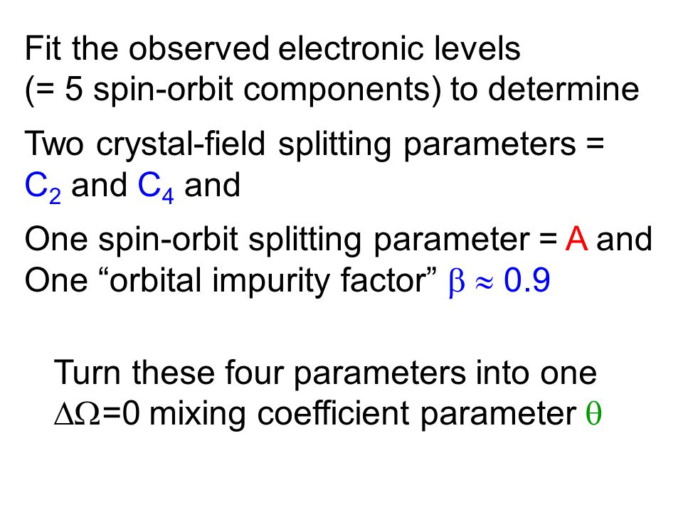 Fit the observed electronic levels (= 5 spin-orbit components) to determine Two crystal-field splitting parameters = C 2 and C 4 and One spin-orbit splitting parameter = A and One orbital impurity factor   0.9 Turn these four parameters into one  =0 mixing coefficient parameter 
