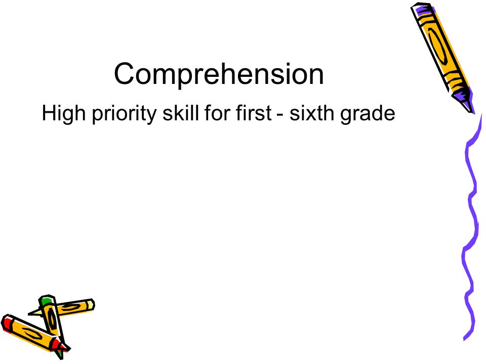Comprehension High priority skill for first - sixth grade