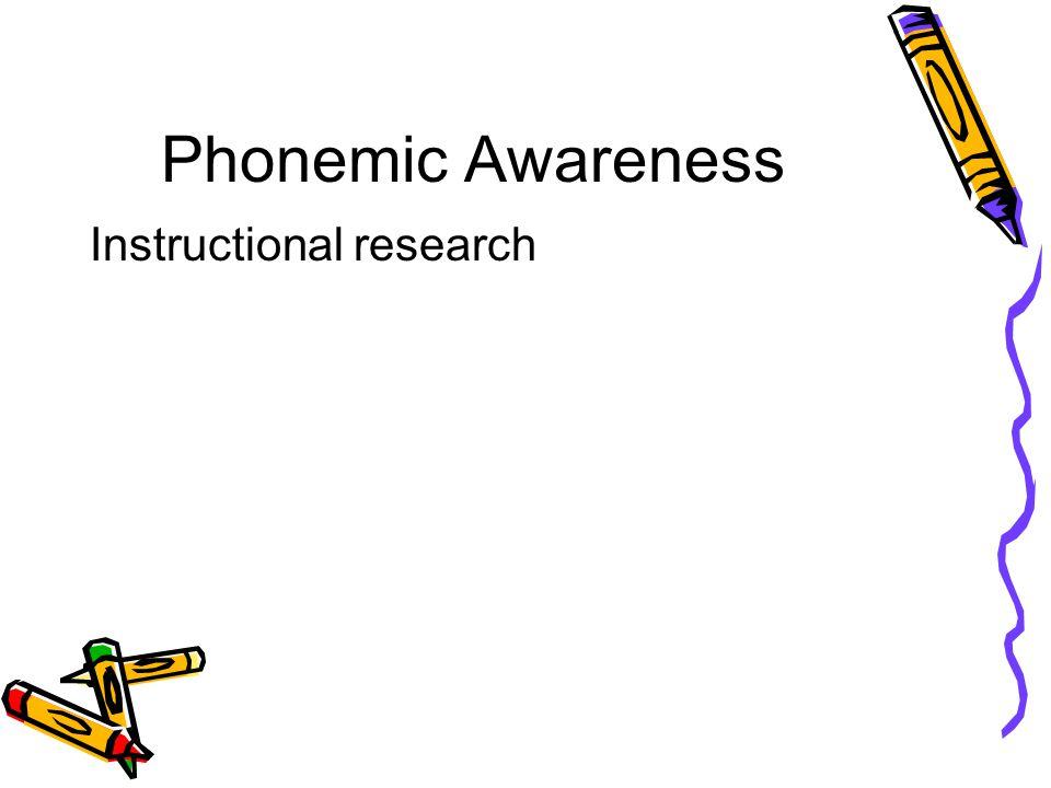 Phonemic Awareness Instructional research