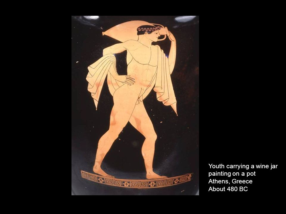 Youth carrying a wine jar painting on a pot Athens, Greece About 480 BC