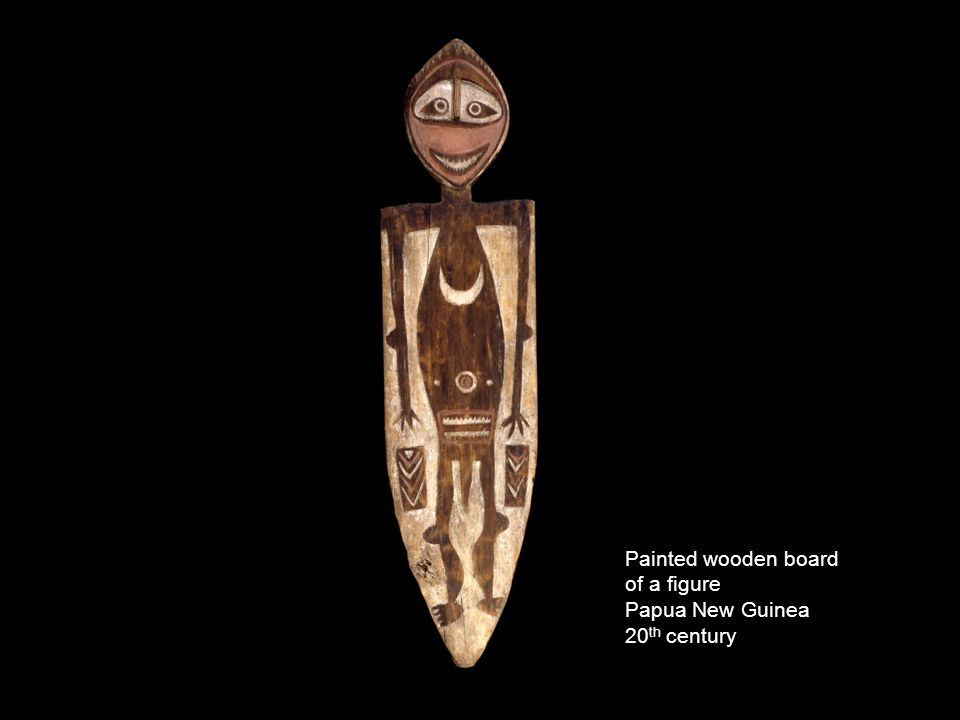Painted wooden board of a figure Papua New Guinea 20 th century
