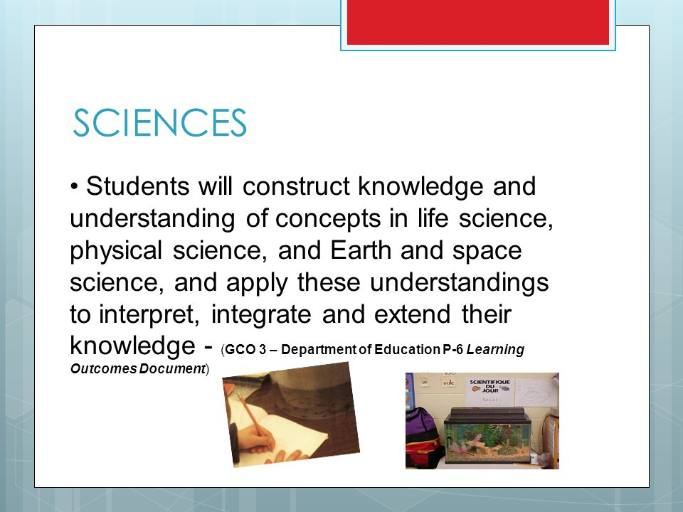 SCIENCES Students will construct knowledge and understanding of concepts in life science, physical science, and Earth and space science, and apply these understandings to interpret, integrate and extend their knowledge - (GCO 3 – Department of Education P-6 Learning Outcomes Document)