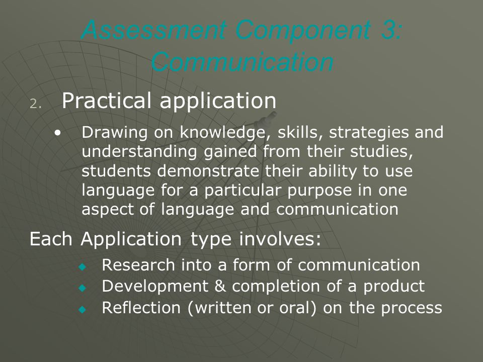 Assessment Component 3: Communication 2. 2.