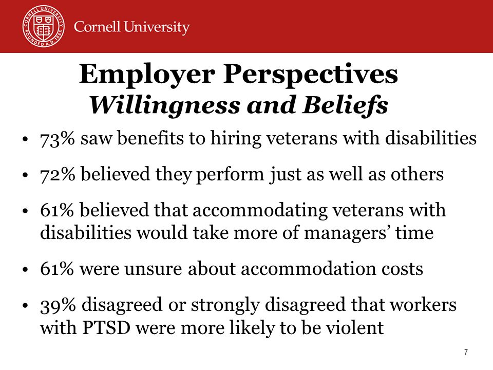 Employer Perspectives Willingness and Beliefs 73% saw benefits to hiring veterans with disabilities 72% believed they perform just as well as others 61% believed that accommodating veterans with disabilities would take more of managers' time 61% were unsure about accommodation costs 39% disagreed or strongly disagreed that workers with PTSD were more likely to be violent 7